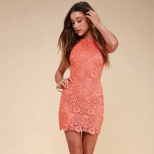 Lulus coral orange lace dress